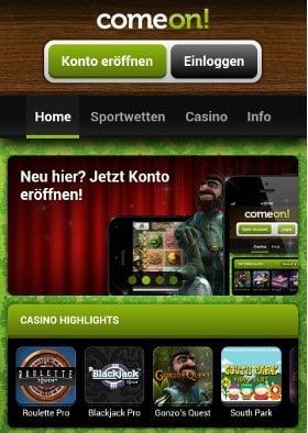 Comeon App - Comeon mobile Wetten Handy App Download für iOS