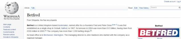 betfred auf wikipedia