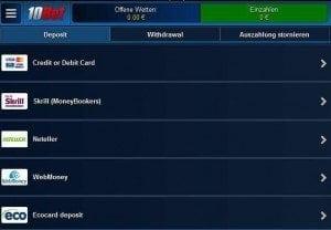 10Bet App - Einzahlung