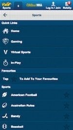 William Hill App - Navigation