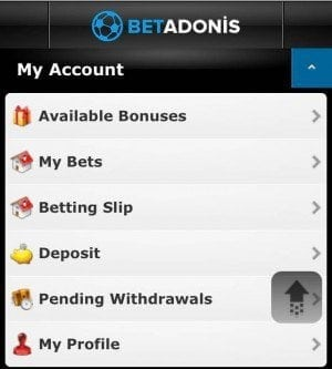 BetAdonis App - Account