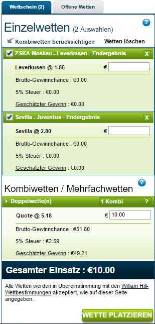 William Hill -Wettschein
