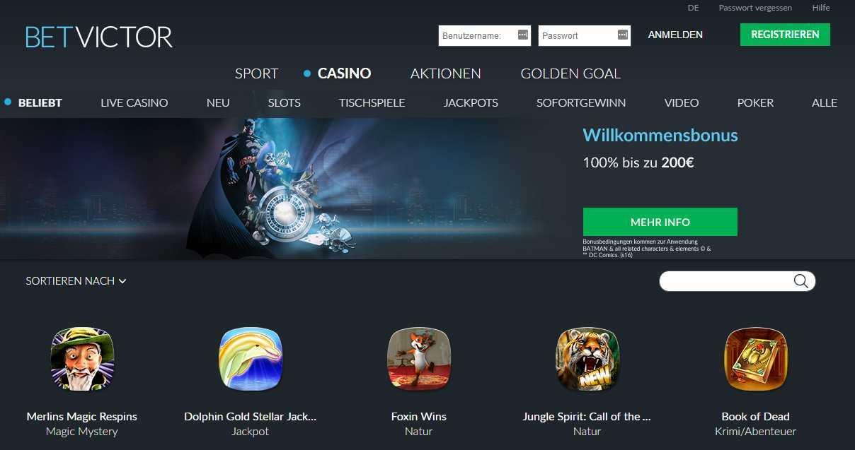 BetVictor Casino Erfahrungen - Header