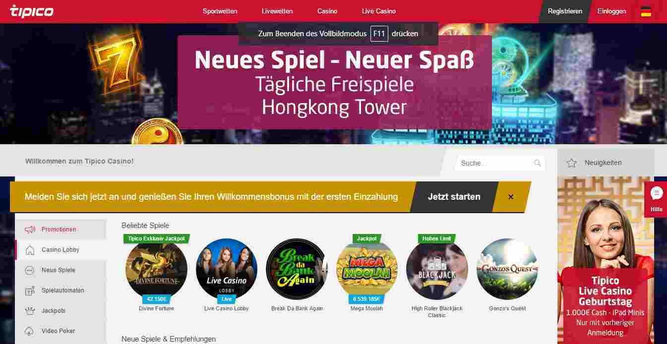 Tipico Casino Erfahrungen - Header