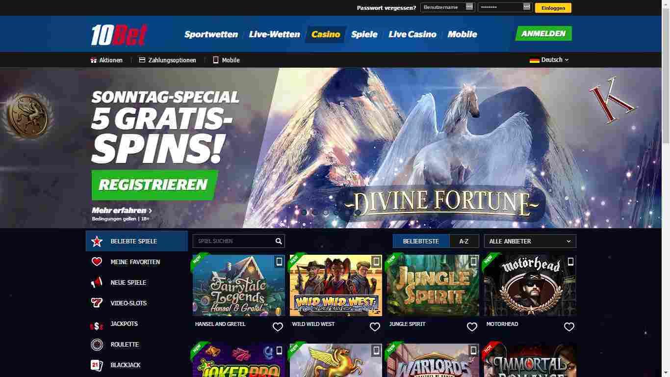 10Bet Casino Erfahrungen - Header