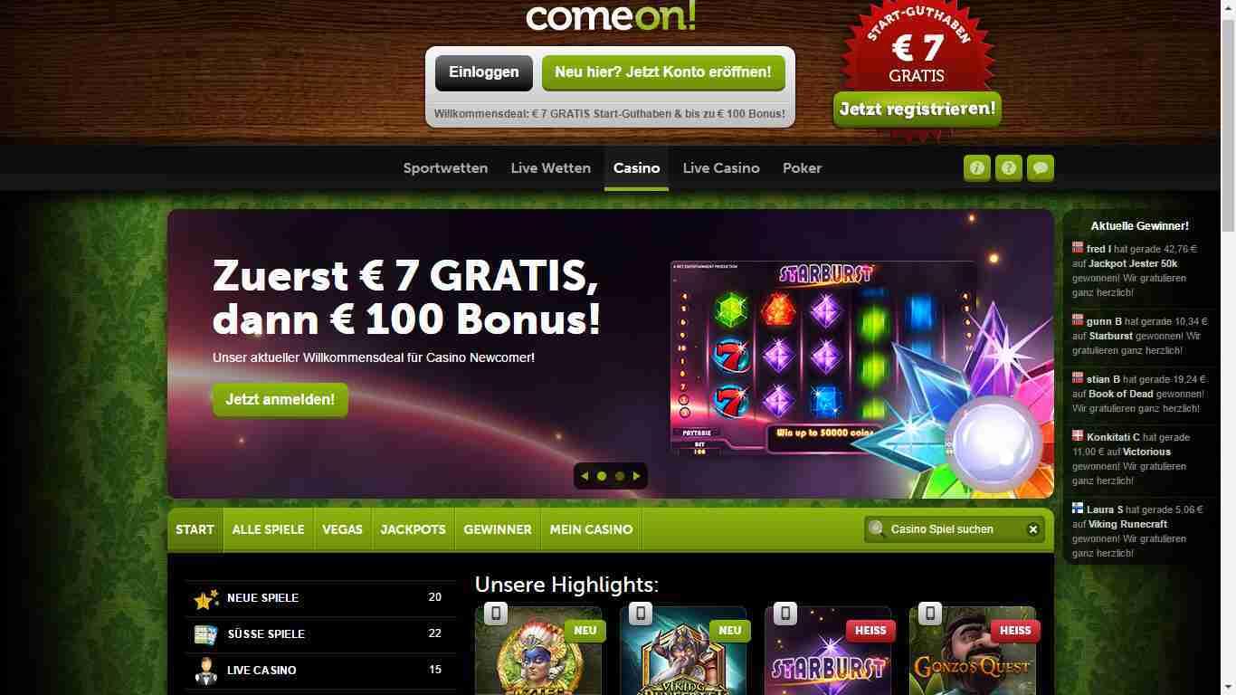 ComeOn Casino Erfahrungen - Header