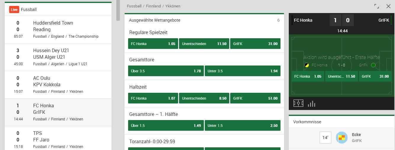 Mr. Green Sportwetten Erfahrungen - Livewetten