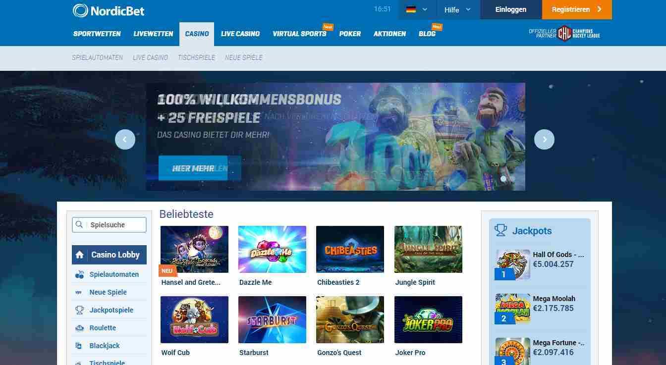 NordicBet Casino Erfahrungen - Header