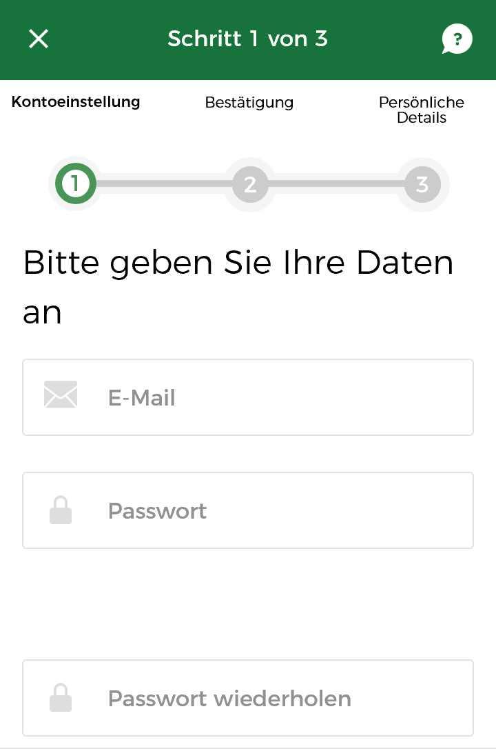 Mr. Green App - Registrieren