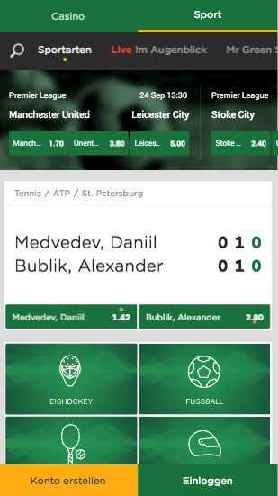 Mr. Green App - Sportwetten