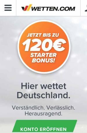 Wetten.com App - Konto eröffnen